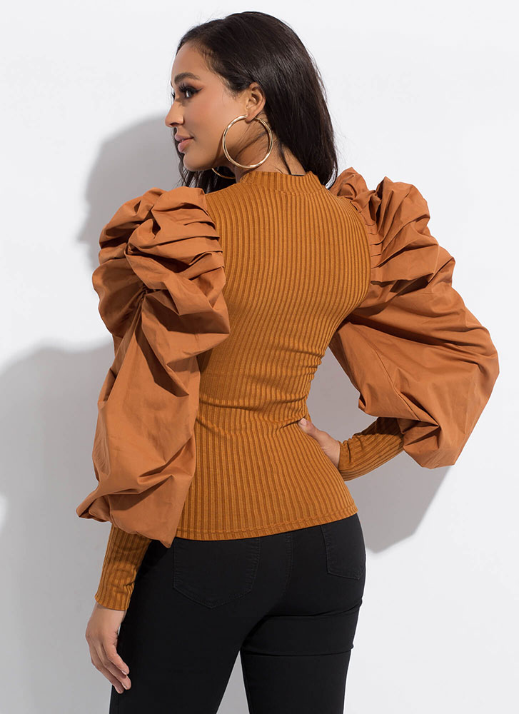 Bring The Drama Pleated Puff Sleeve Top MUSTARD