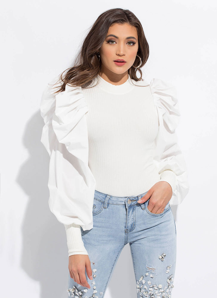 Bring The Drama Pleated Puff Sleeve Top WHITE