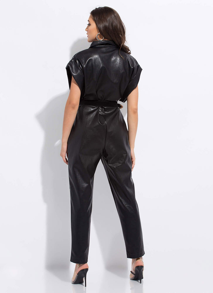 Ms. Moto Belted Faux Leather Jumpsuit BLACK