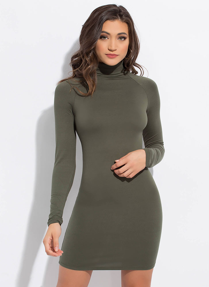 What An Asset Turtleneck Minidress OLIVE