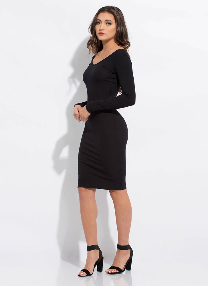 Back To Basic Rib Knit Midi Dress BLACK