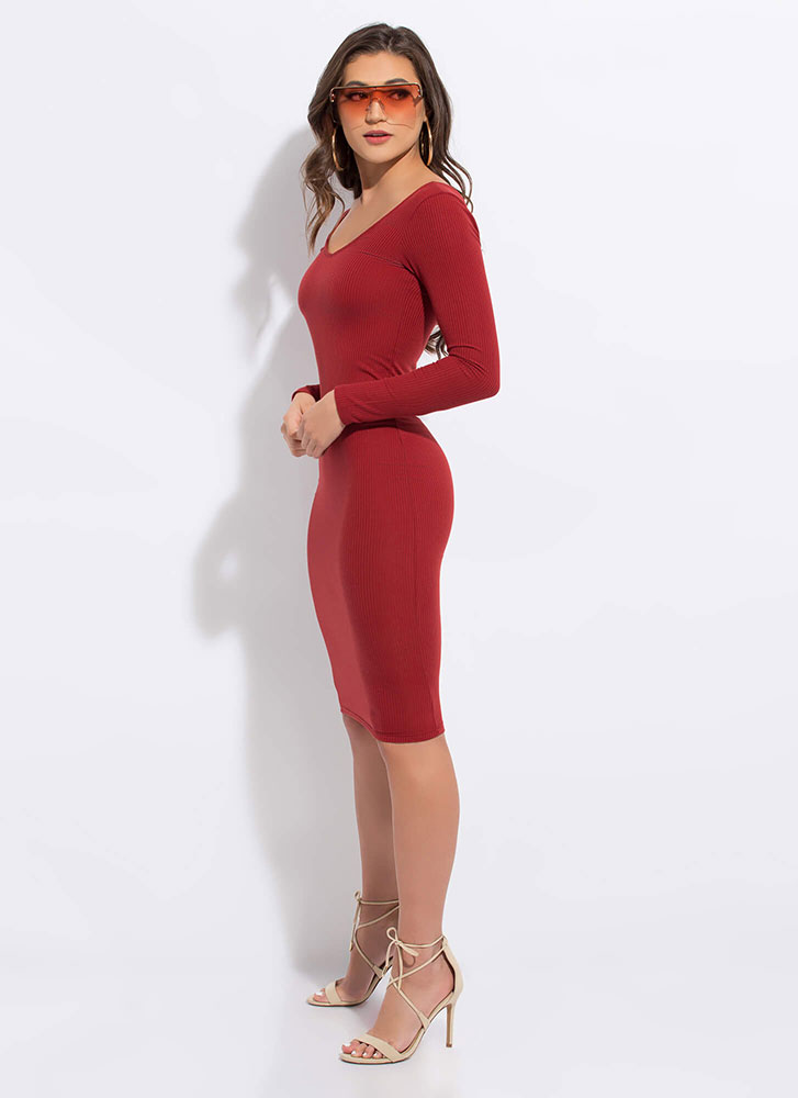 Back To Basic Rib Knit Midi Dress RUST