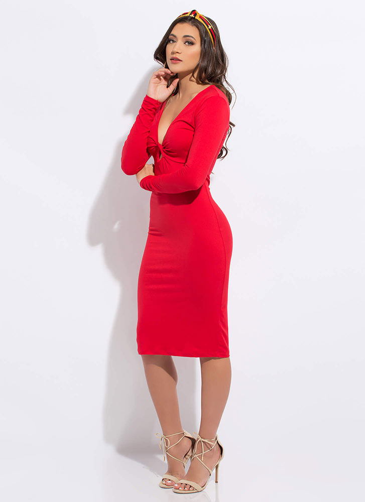 But With A Twist Keyhole Midi Dress RED
