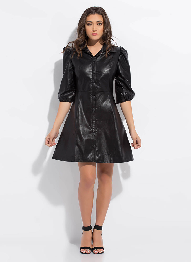 Flare For Leather Puffy Sleeve Dress BLACK