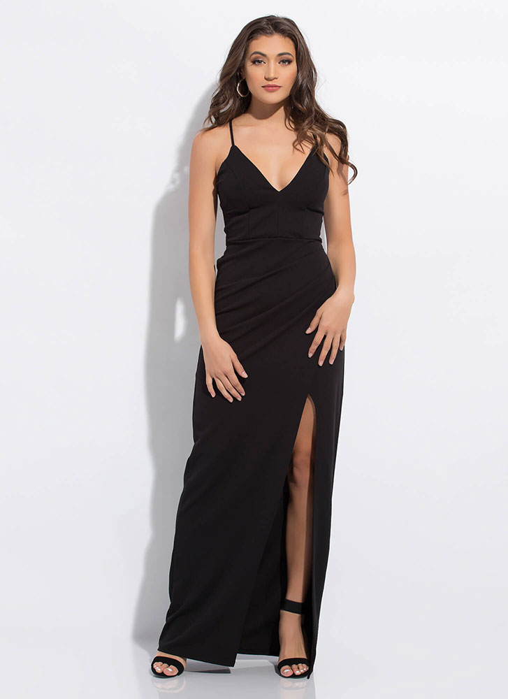 Something Special Slit Lace-Back Gown BLACK