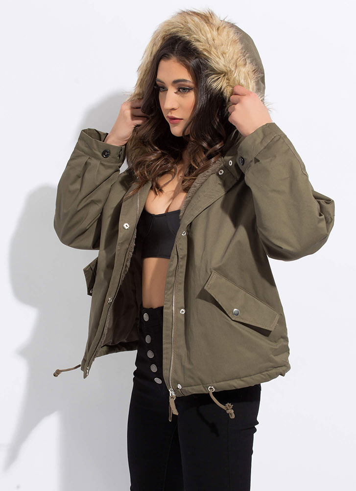 Always And Fur-Ever Hooded Jacket OLIVE