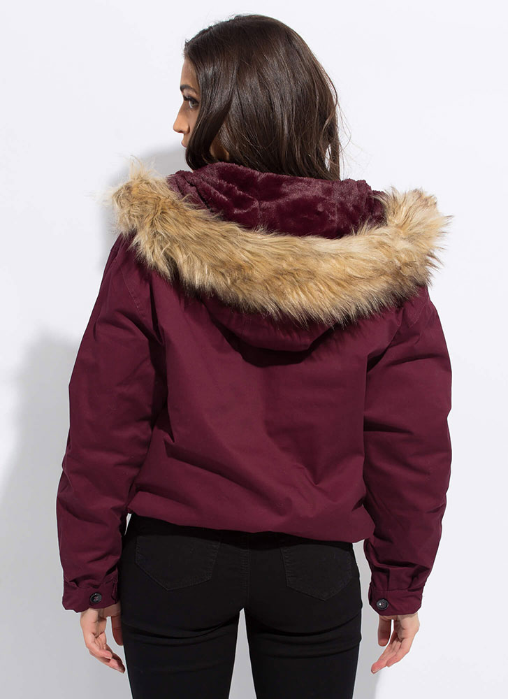 Always And Fur-Ever Hooded Jacket WINE