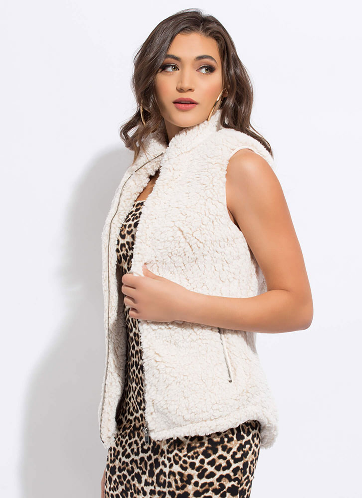 Warming Up Zip-Up Faux Shearling Vest OATMEAL