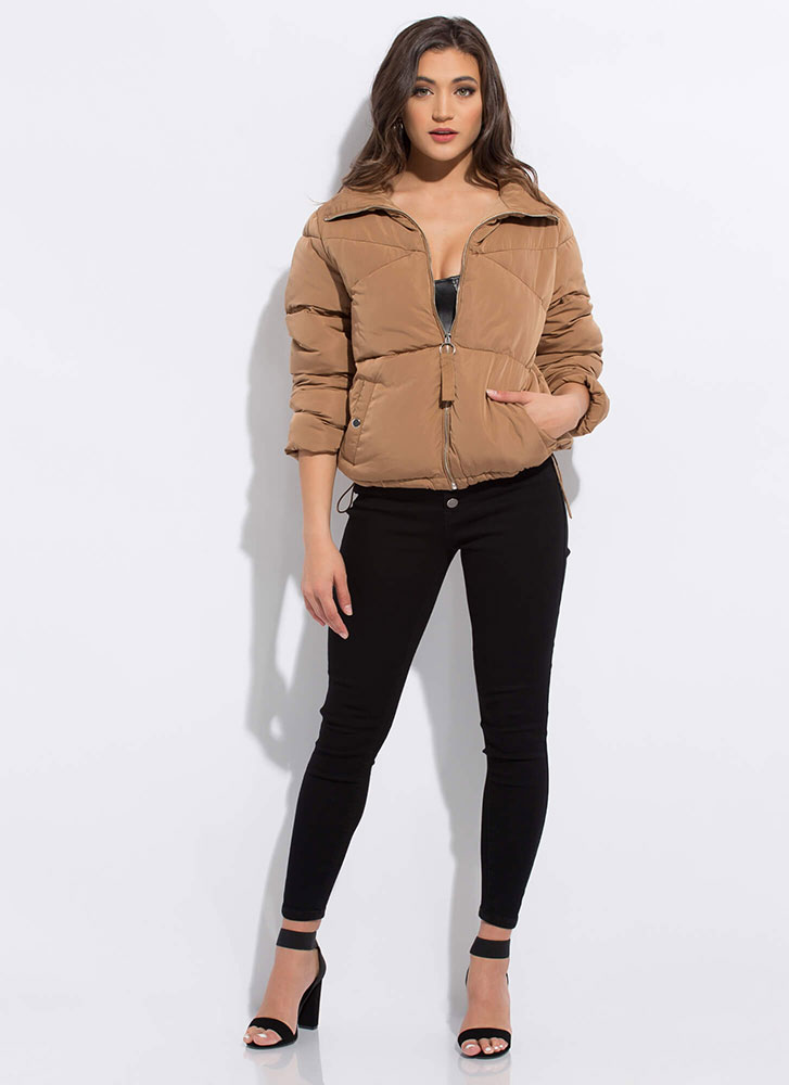 Cold Habits Die Hard Zip-Up Puffy Jacket CAMEL