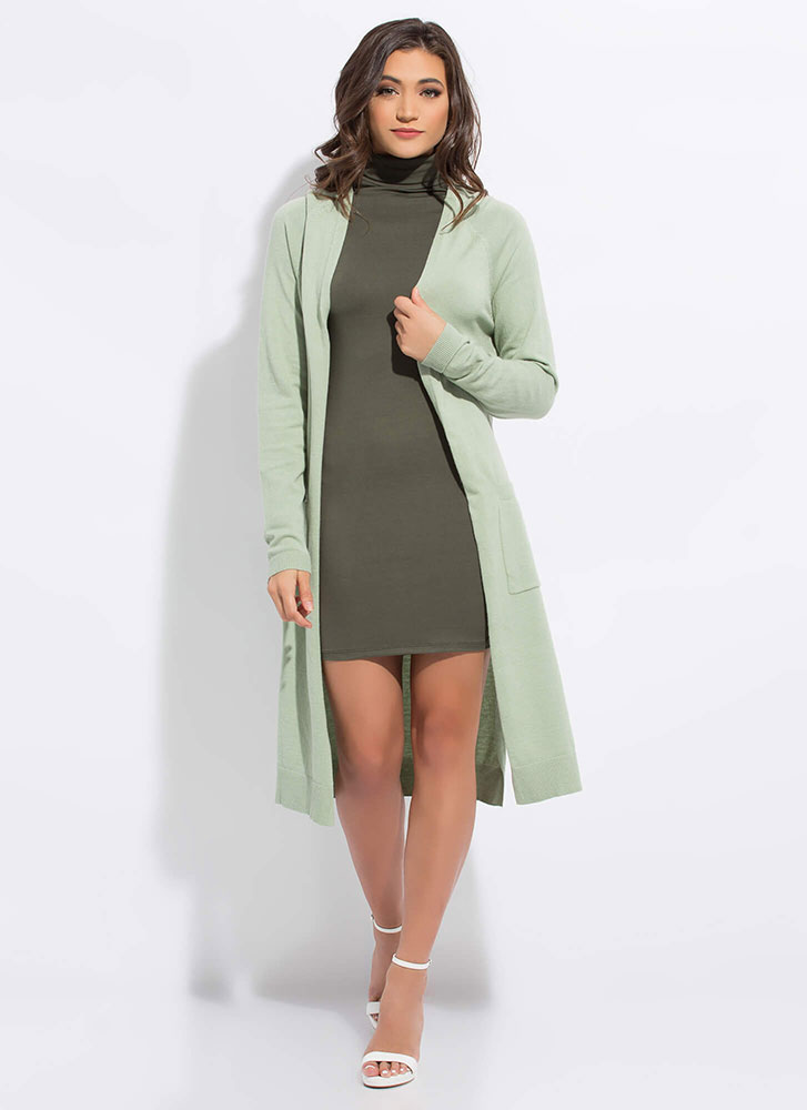 Long Vacation Knit Duster Cardigan MINT
