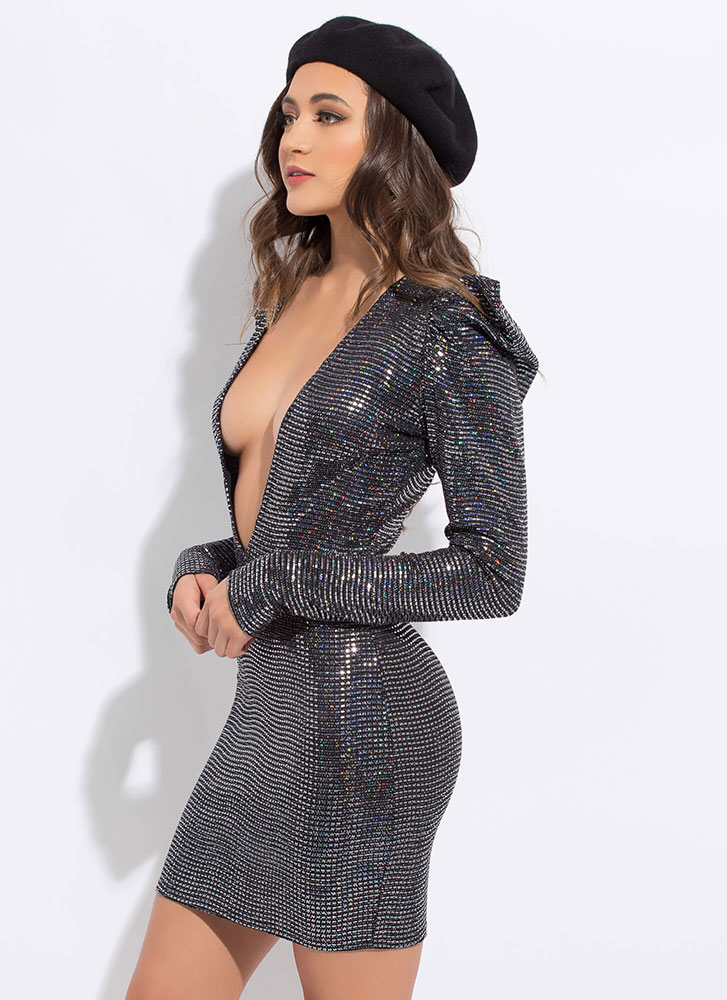 Sparkle Party Plunging Puff Sleeve Dress BLACK