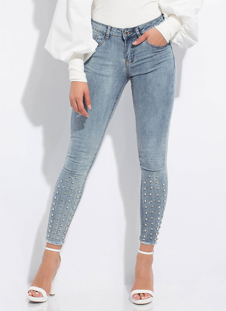 Add Sparkle Jeweled Mineral Wash Jeans MEDBLUE