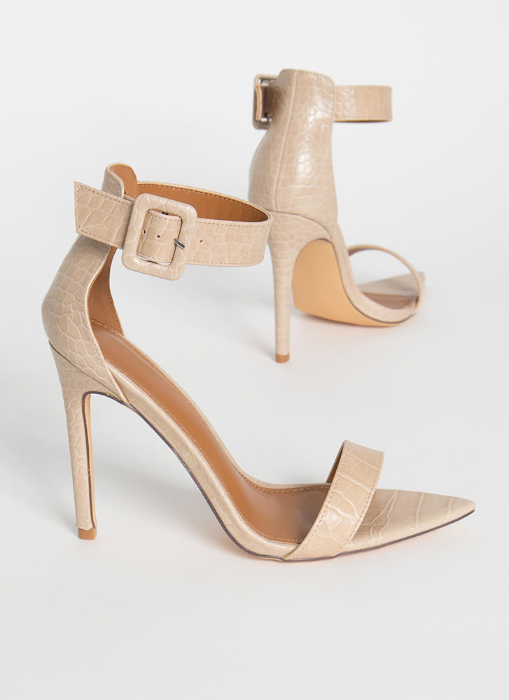 Crocodile Huntress Ankle Strap Heels TAUPE