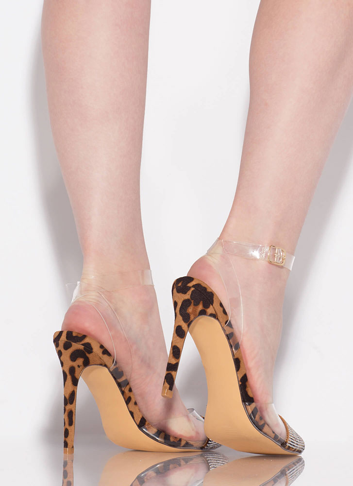 Gorgeous Jeweled Cap-Toe Leopard Heels LEOPARD