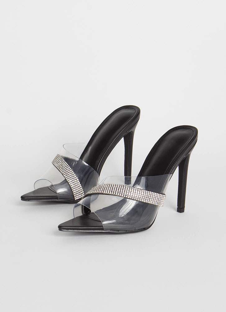 It's Clear Jeweled Peep-Toe Mule Heels BLACK