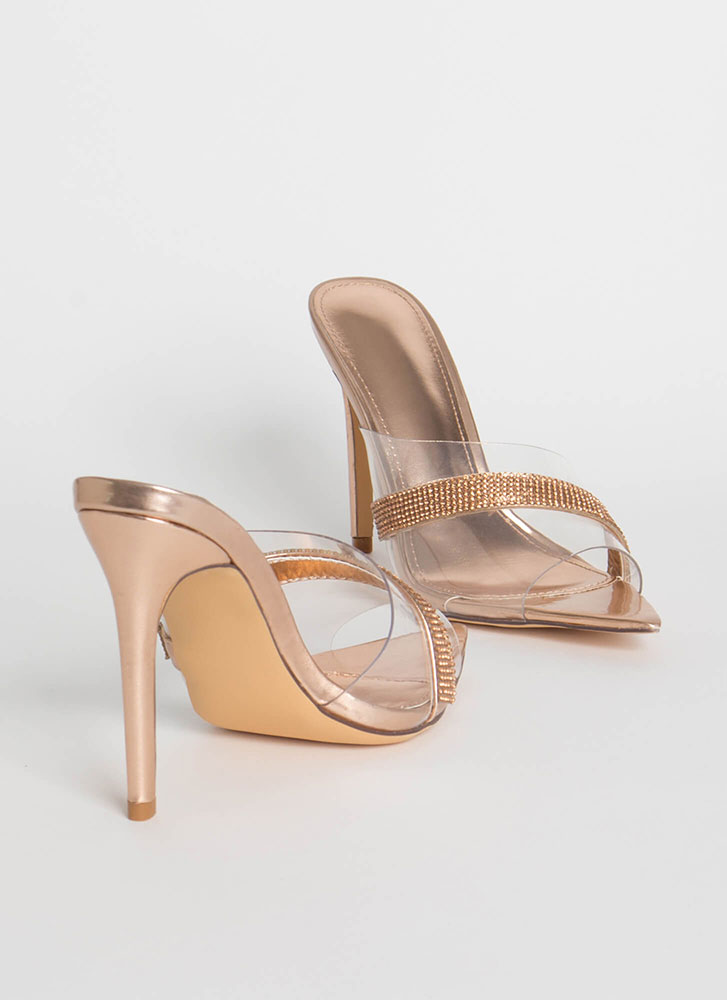 It's Clear Jeweled Peep-Toe Mule Heels ROSEGOLD
