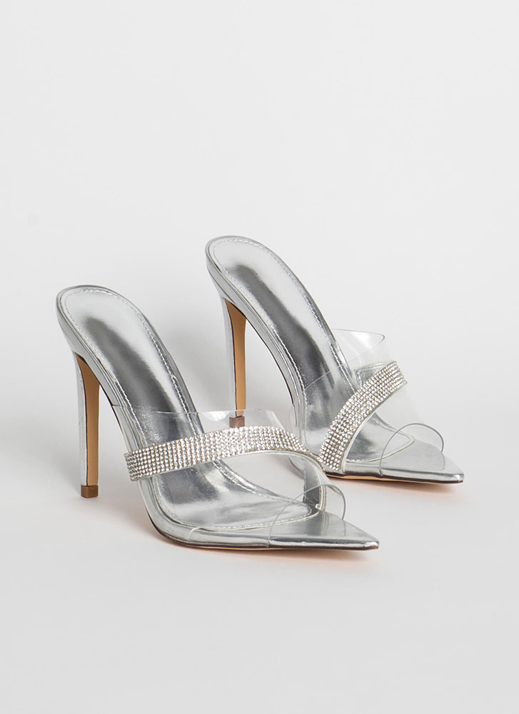 It's Clear Jeweled Peep-Toe Mule Heels SILVER