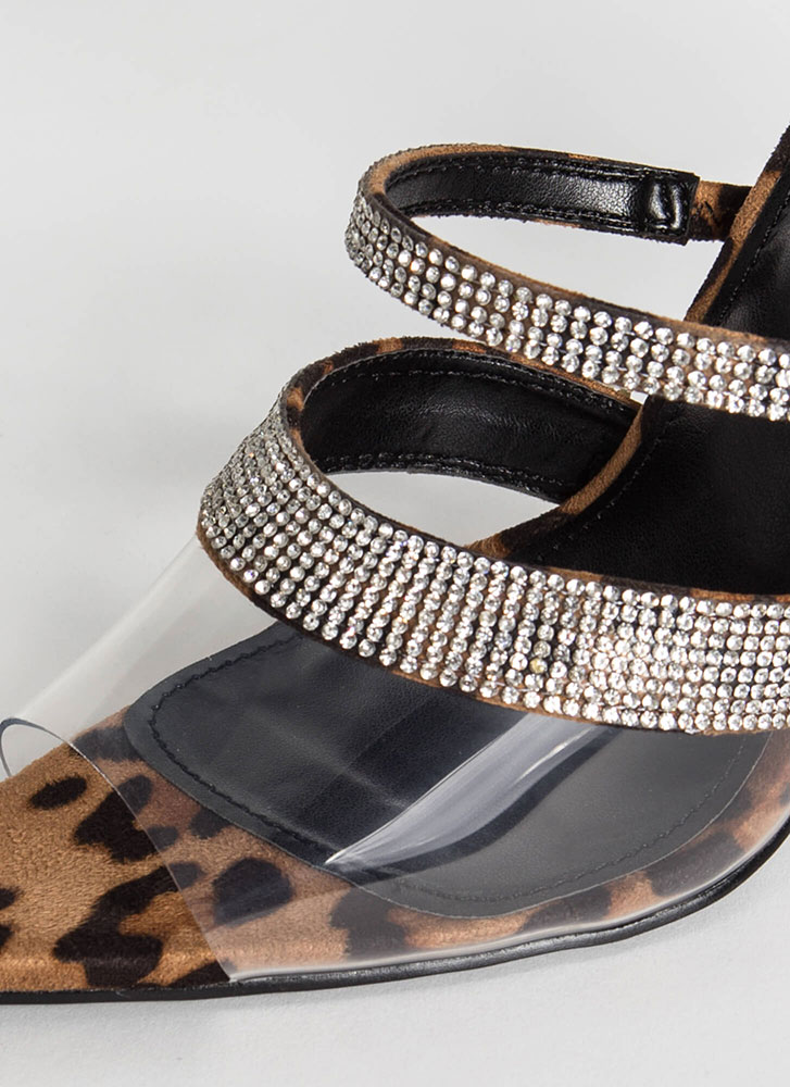 Clear Answer Jewel Strap Leopard Heels LEOPARD (Final Sale)