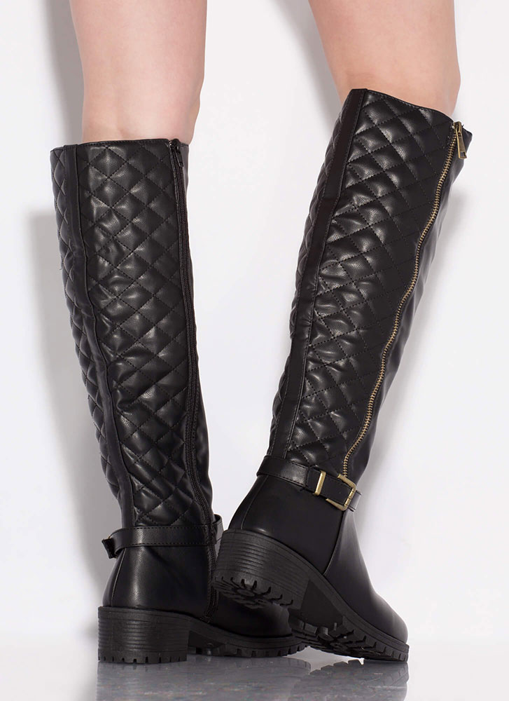 Plead Quilty Stitched Knee-High Boots BLACK