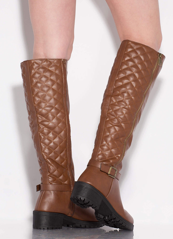 Plead Quilty Stitched Knee-High Boots CHESTNUT