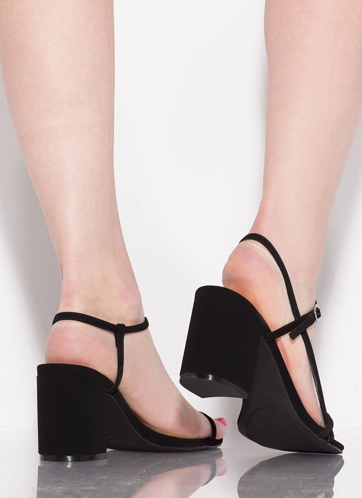 Strappy And Chunky Faux Nubuck Heels BLACK