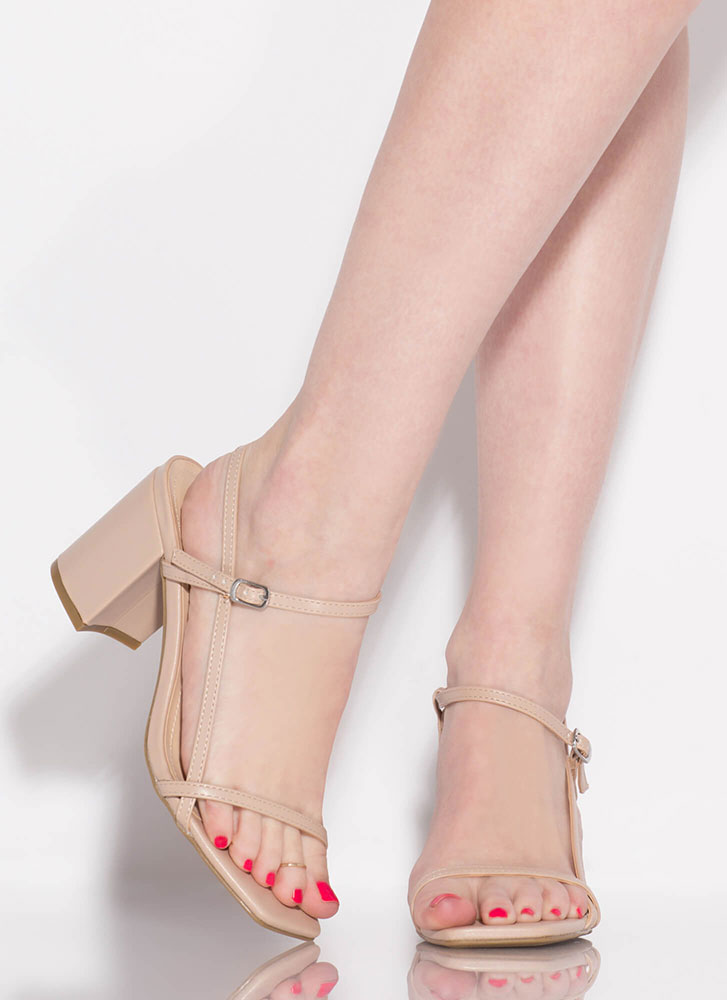 Strappy And Chunky Faux Leather Heels NUDE