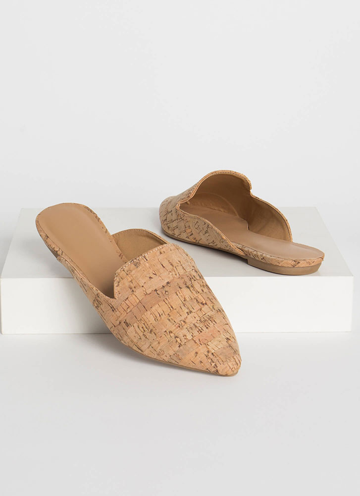 Smoke In Your Eyes Cork Mule Flats NATURAL
