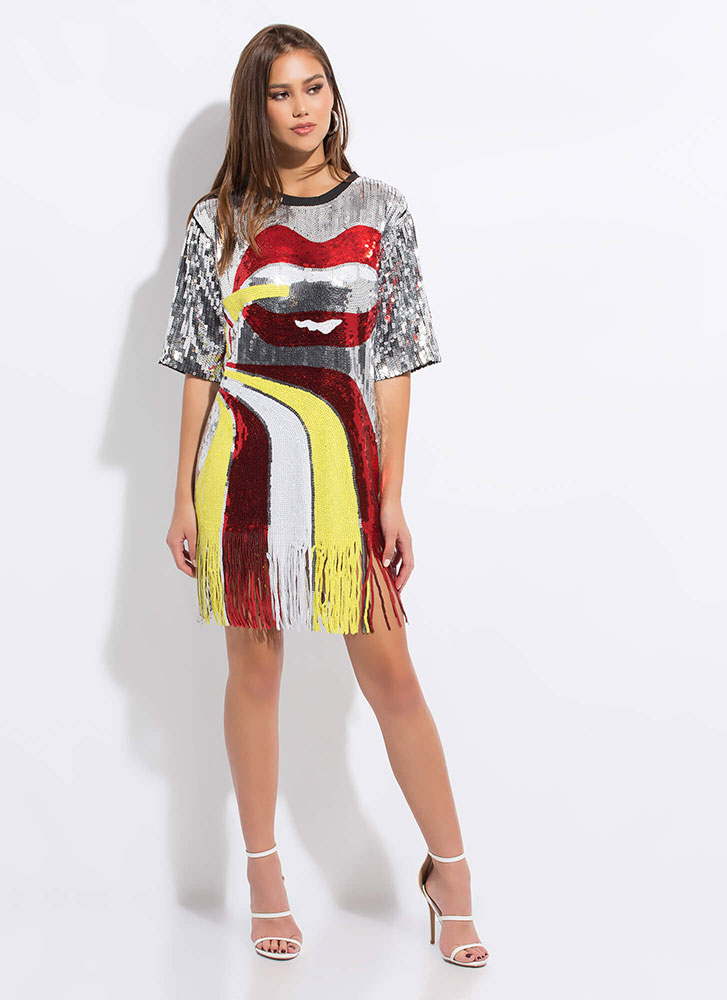 Mouth Off Fringed Sequin Shirt Dress SILVER