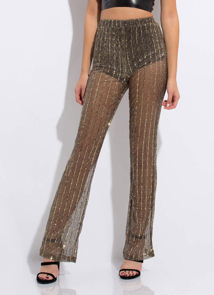 Sparkly Sequins Sheer Mesh Pants BLACKGOLD
