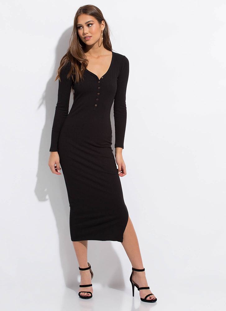 Everyday Button-Front Maxi Dress BLACK
