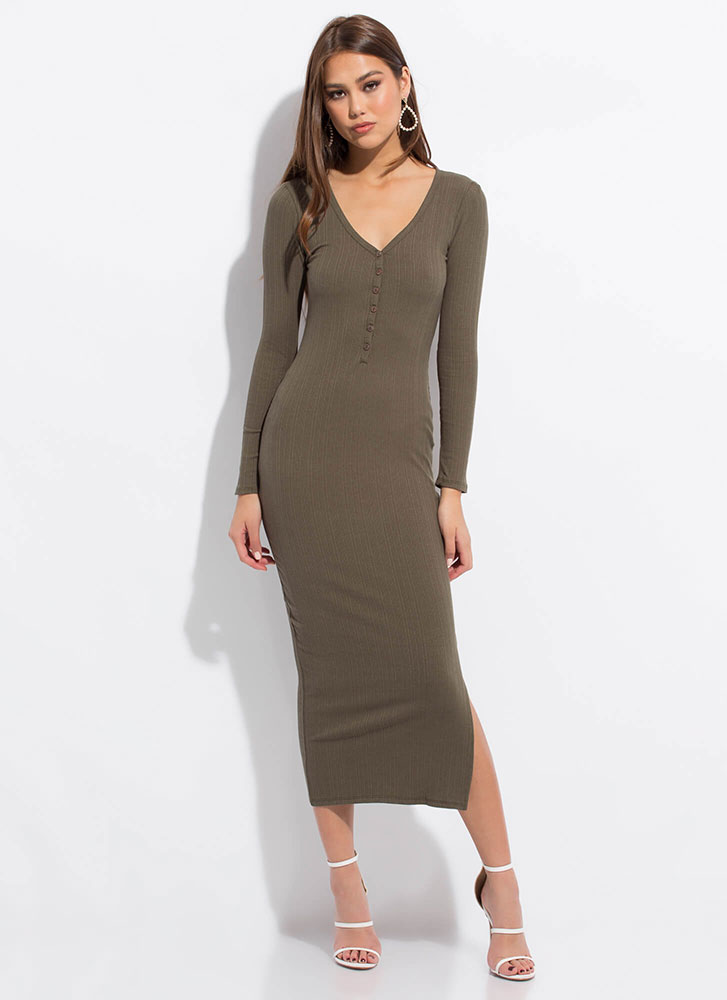 Everyday Button-Front Maxi Dress OLIVE