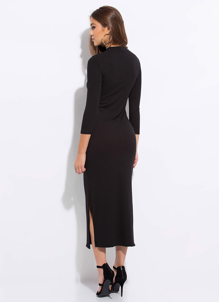 Everyday Double Slit Mockneck Maxi Dress BLACK