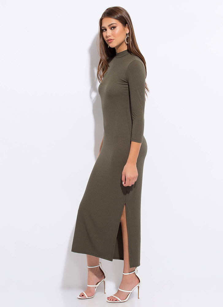 Everyday Double Slit Mockneck Maxi Dress OLIVE