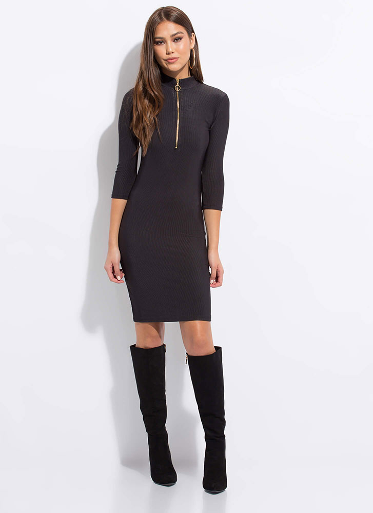 Ring Out The Best Zip-Up Midi Dress BLACK