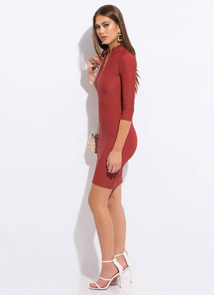 Ring Out The Best Zip-Up Midi Dress BRICK