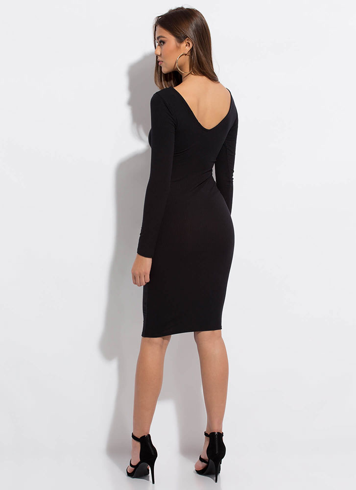 Pushing My Buttons Ribbed Midi Dress BLACK