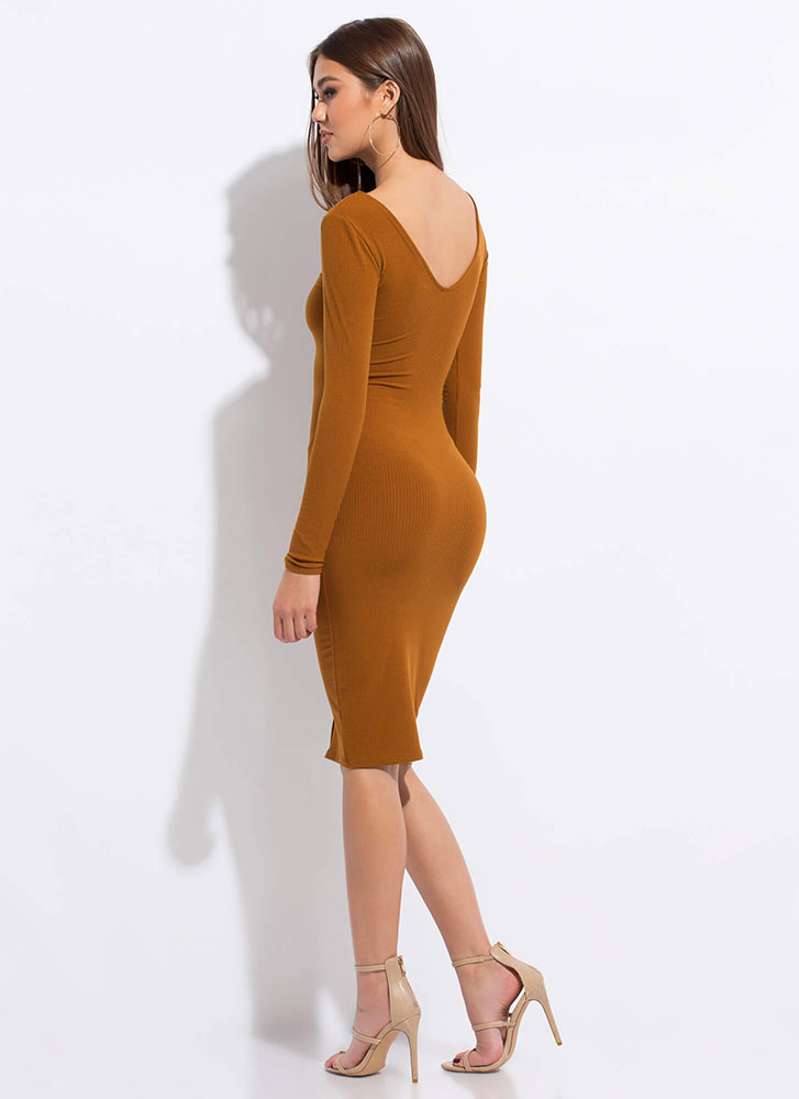 Pushing My Buttons Ribbed Midi Dress TERRACOTTA
