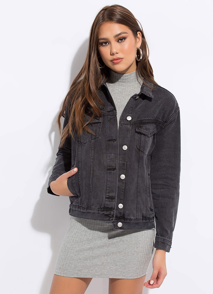 Keep Your Cool Button-Up Denim Jacket BLACK