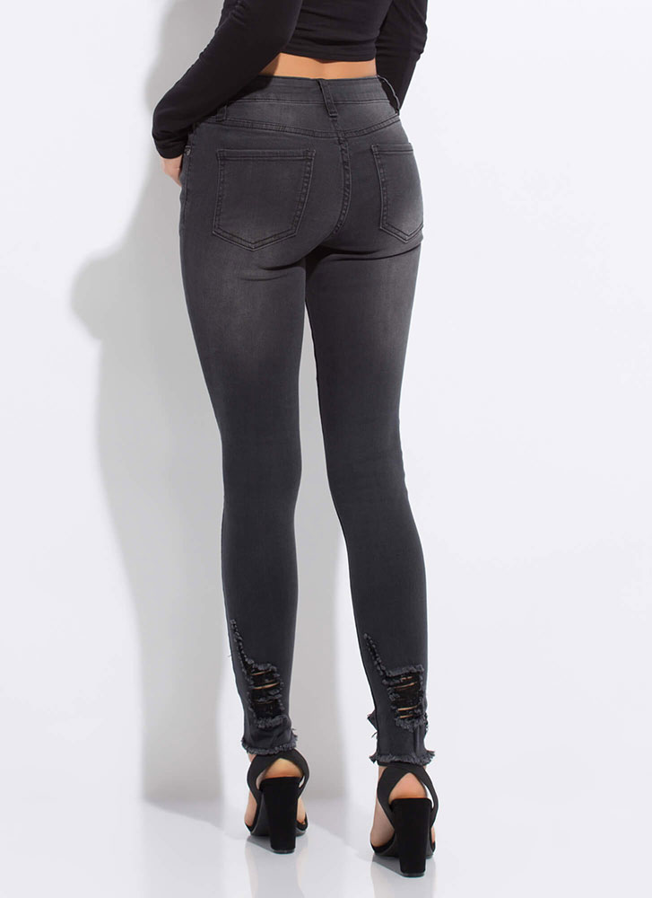 Get Faded Distressed Cut-Out Jeans BLACK