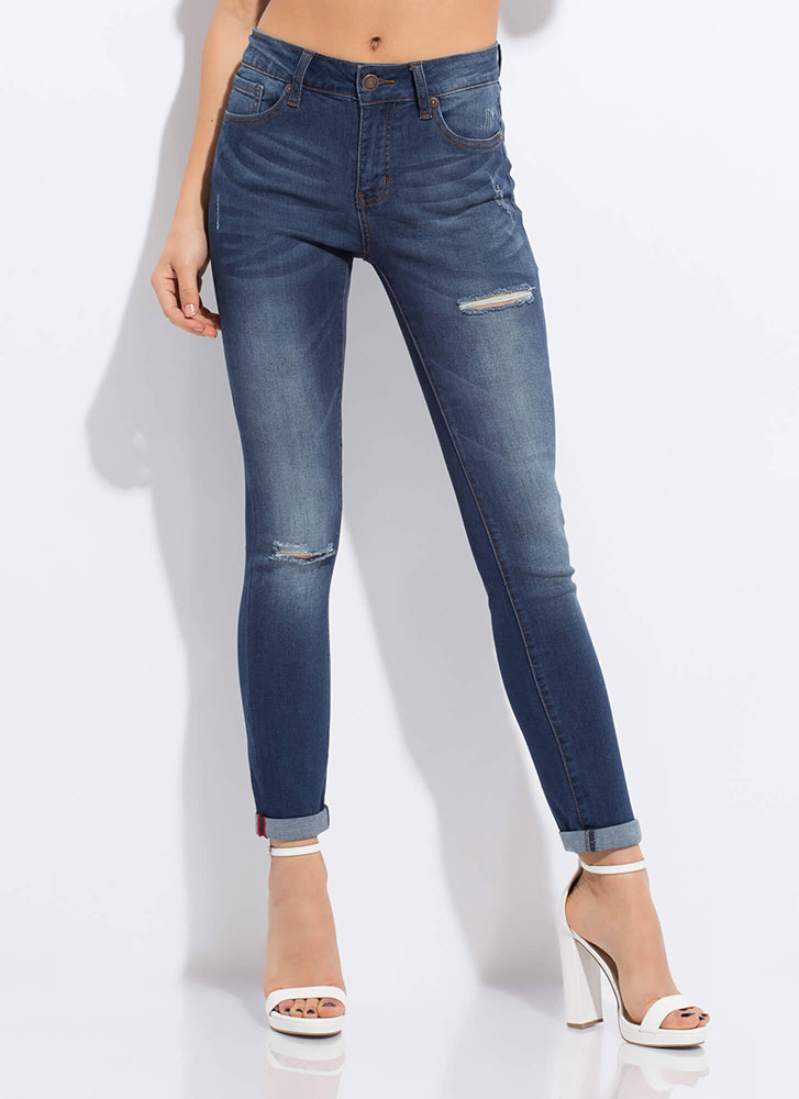 It's A Slit Show Washed Skinny Jeans DKBLUE