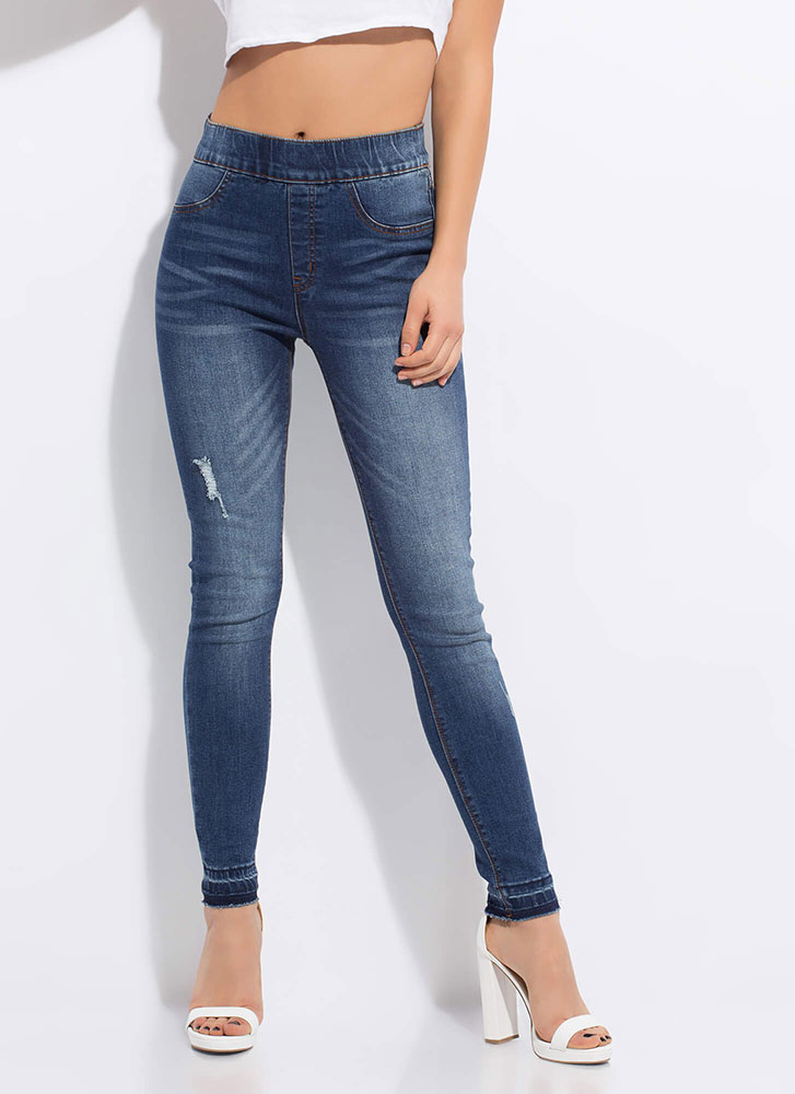 No-Brainer Stretchy Waist Skinny Jeans DKBLUE