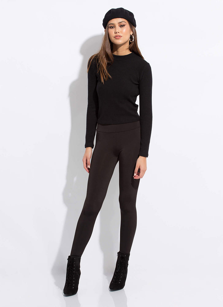 Basic Needs Long-Sleeved Fuzzy Knit Top BLACK