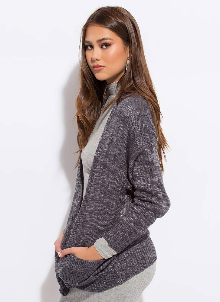 Heather Weather Ribbed Knit Cardigan CHARCOAL