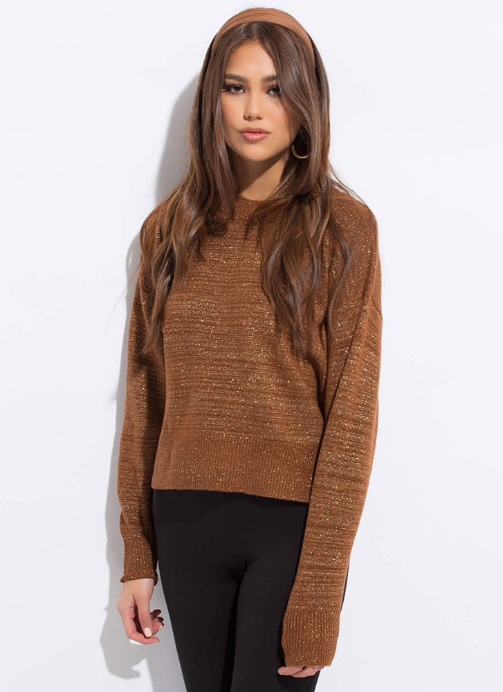 Sparkly Personality Streaky Knit Sweater BROWN