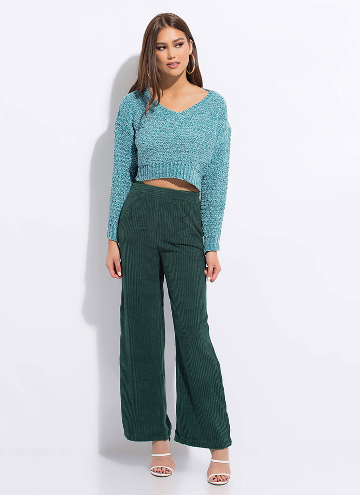 Knit Goes Both Ways Cropped Sweater TEAL (Final Sale)