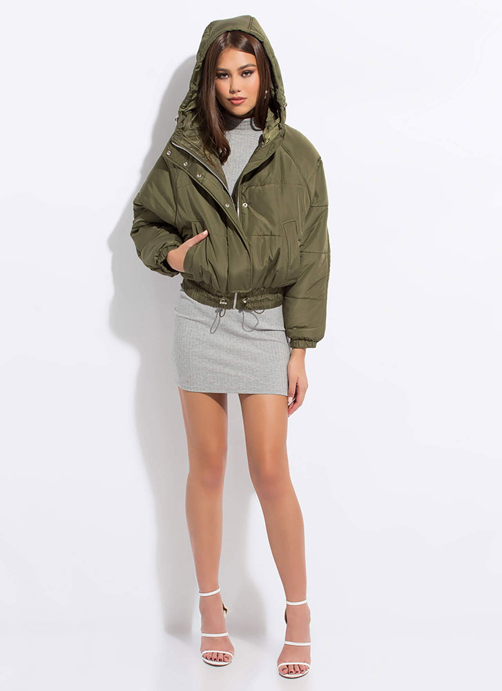 Brave The Cold Puffy Hooded Jacket OLIVE