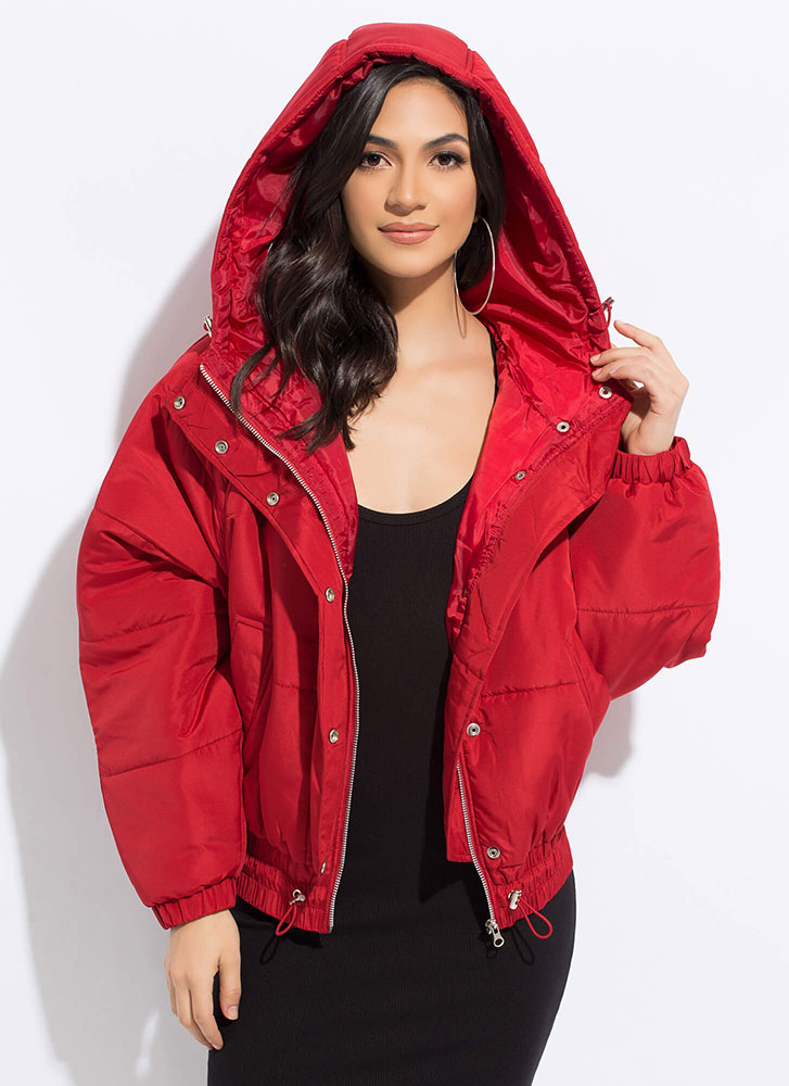 Brave The Cold Puffy Hooded Jacket RED