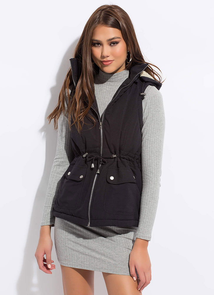 Fashion Forecast Hooded Zip-Front Vest BLACK