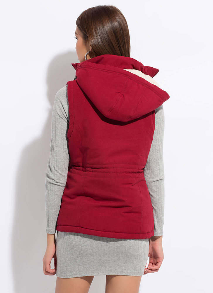 Fashion Forecast Hooded Zip-Front Vest WINE