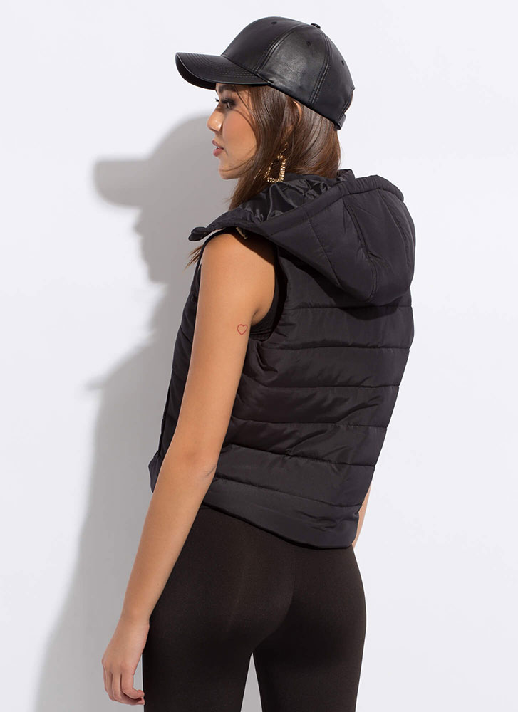 Camping Or Clubbing Hooded Puffy Vest BLACK